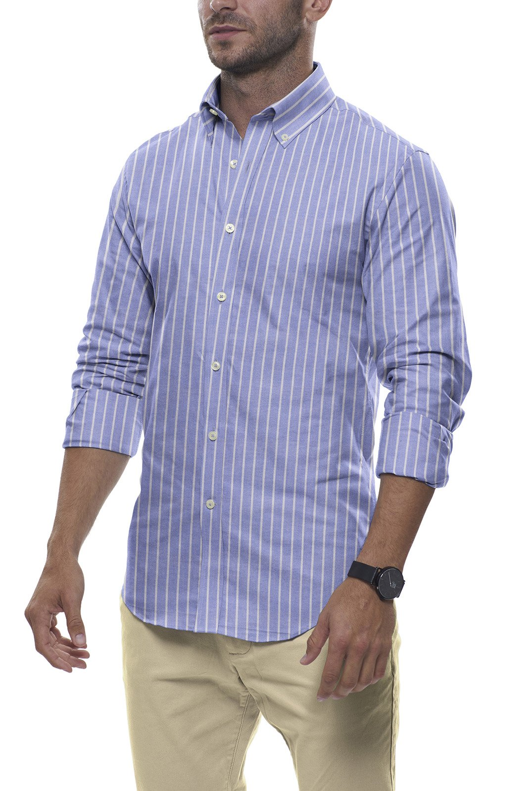 Powder Blue Reverse Stripe Oxford: Button-Down Collar, Long Sleeve