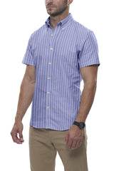 Powder Blue Reverse Stripe Oxford: Semi-Spread Collar, Short Sleeve
