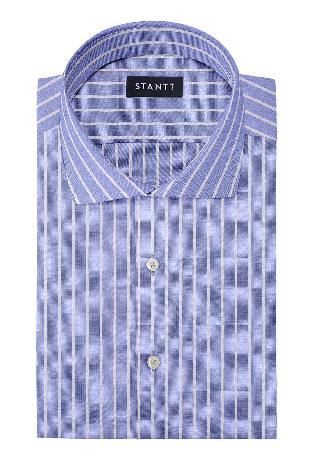 Powder Blue Reverse Stripe Oxford: Cutaway Collar, Barrel Cuff