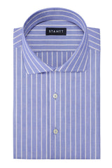 Powder Blue Reverse Stripe Oxford: Cutaway Collar, French Cuff