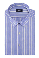 Powder Blue Reverse Stripe Oxford: Button-Down Collar, Barrel Cuff