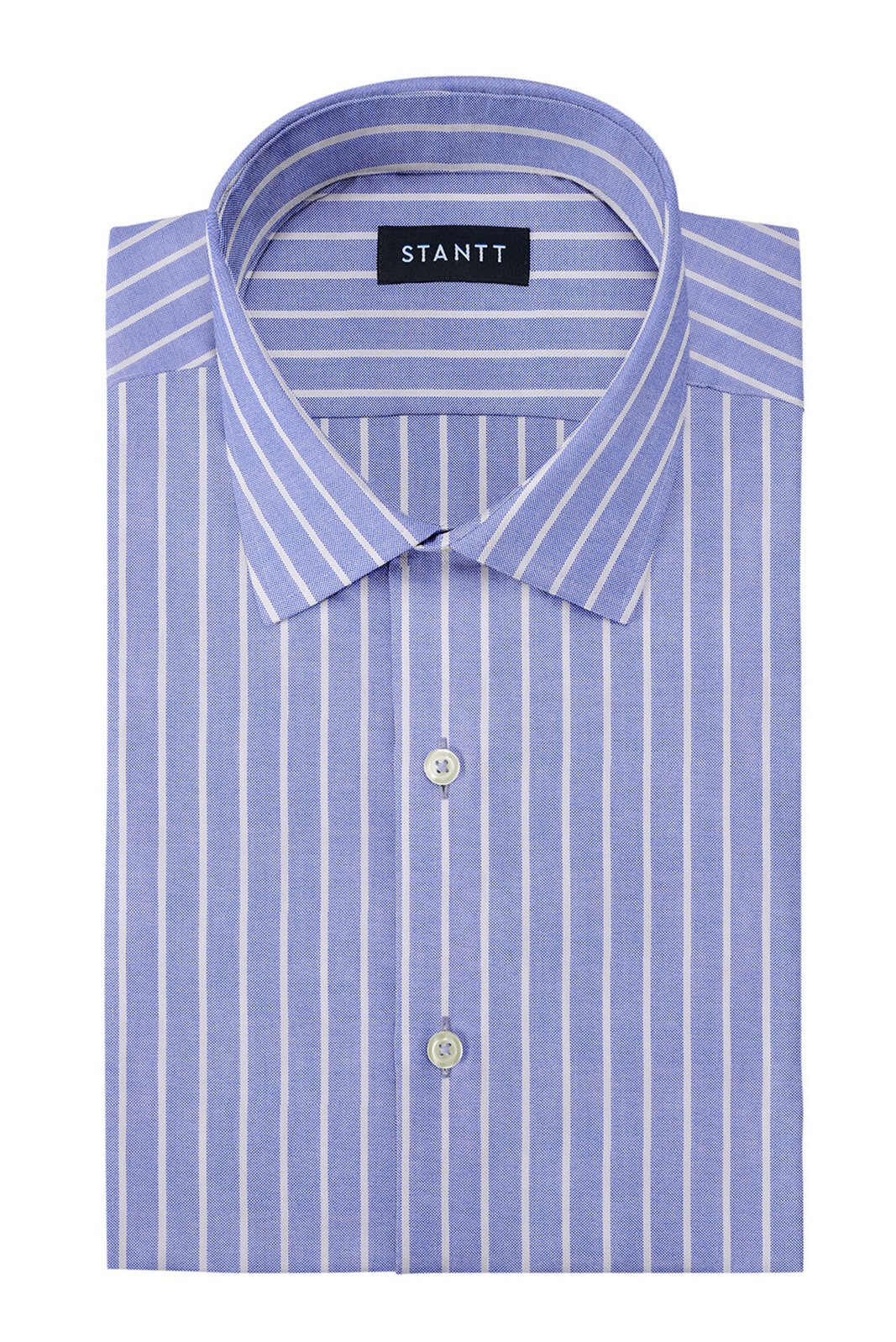 Powder Blue Reverse Stripe Oxford: Modified-Spread Collar, Barrel Cuff