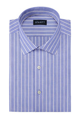 Powder Blue Reverse Stripe Oxford: Modified-Spread Collar, French Cuff
