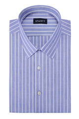 Powder Blue Reverse Stripe Oxford: Semi-Spread Collar, French Cuff