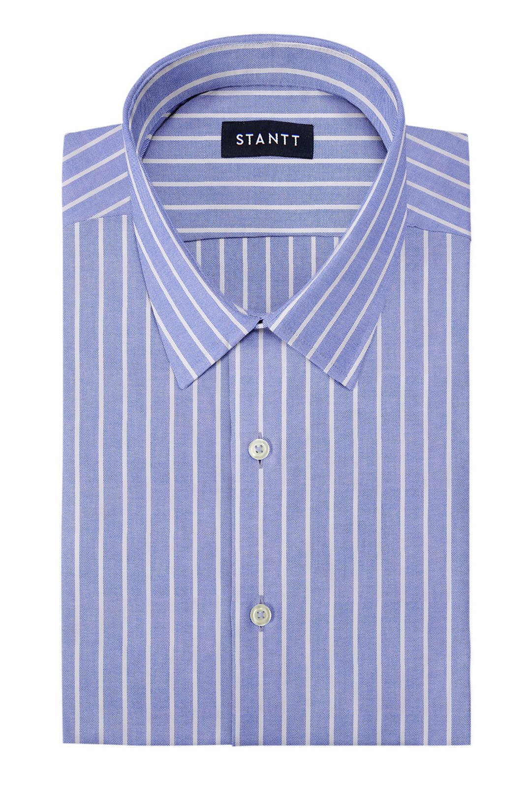 Powder Blue Reverse Stripe Oxford: Semi-Spread Collar, Barrel Cuff