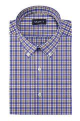 Navy and Sienna Multi Tattersall: Button-Down Collar, Short Sleeve