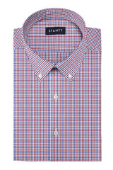 Red and Blue Shadow Plaid: Button-Down Collar, Barrel Cuff