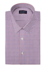 Red and Blue Shadow Plaid: Semi-Spread Collar, Short Sleeve