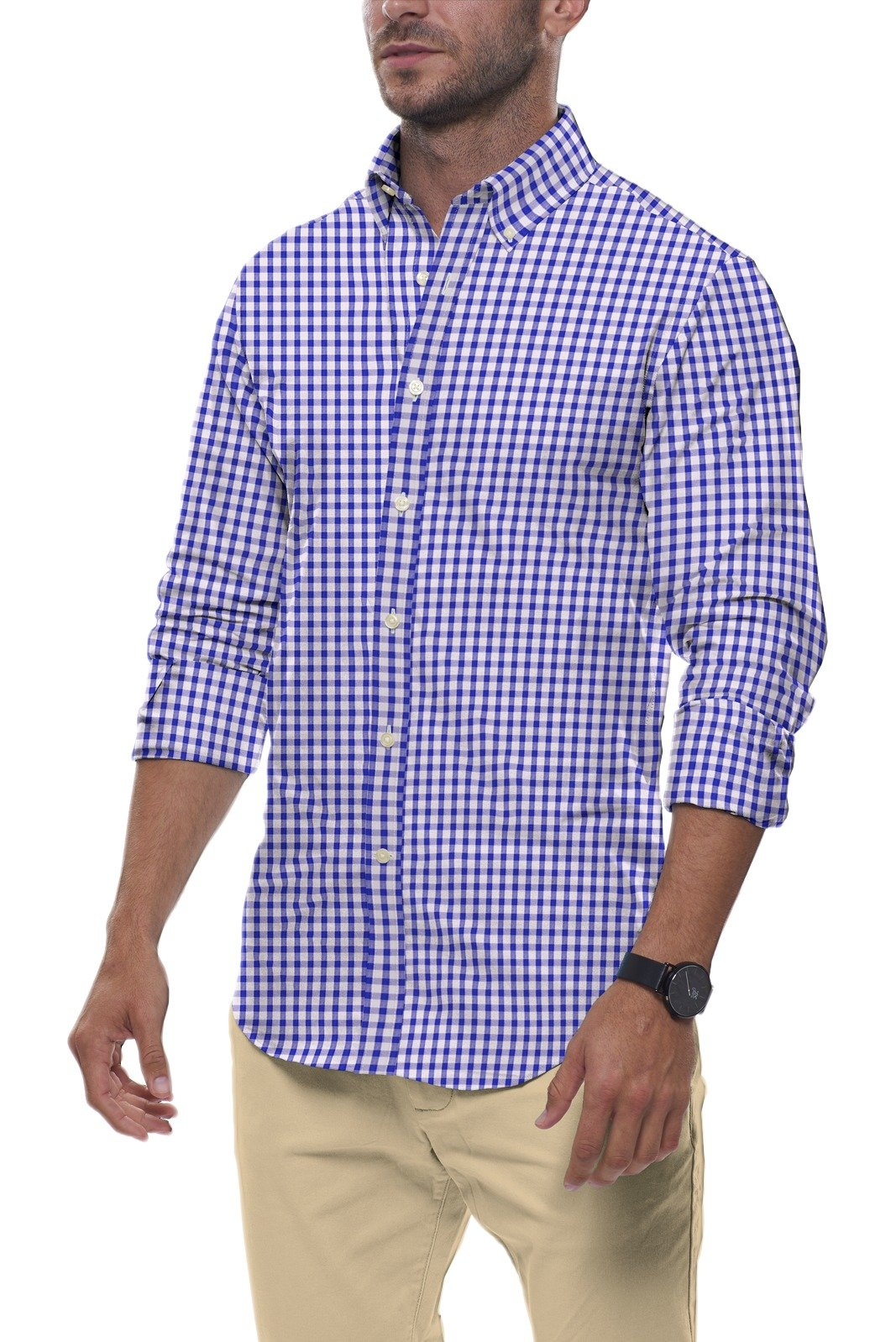 Cobalt Gingham Seersucker: Semi-Spread Collar, Long Sleeve