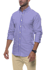 Cobalt Gingham Seersucker: Button-Down Collar, Long Sleeve
