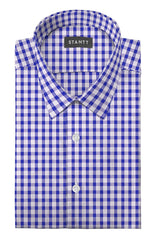 Cobalt Gingham Seersucker: Semi-Spread Collar, Short Sleeve