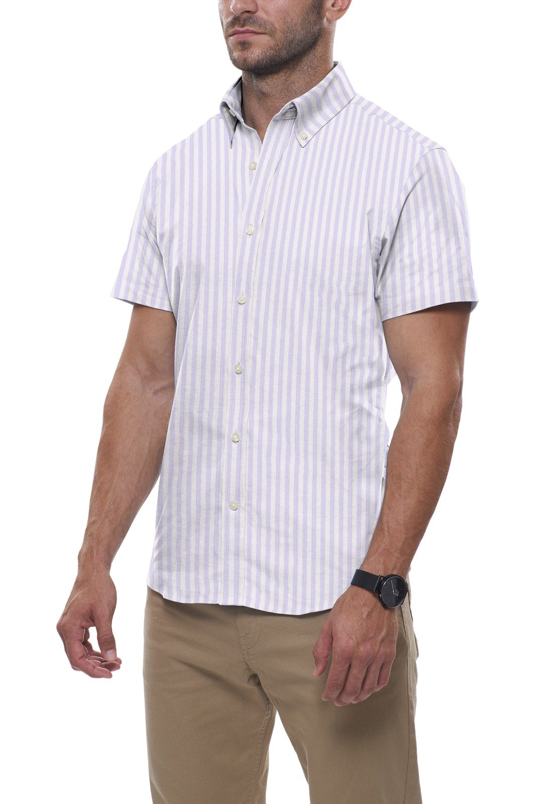 Light Blue Bengal Stripe Dobby: Button-Down Collar, Short Sleeve