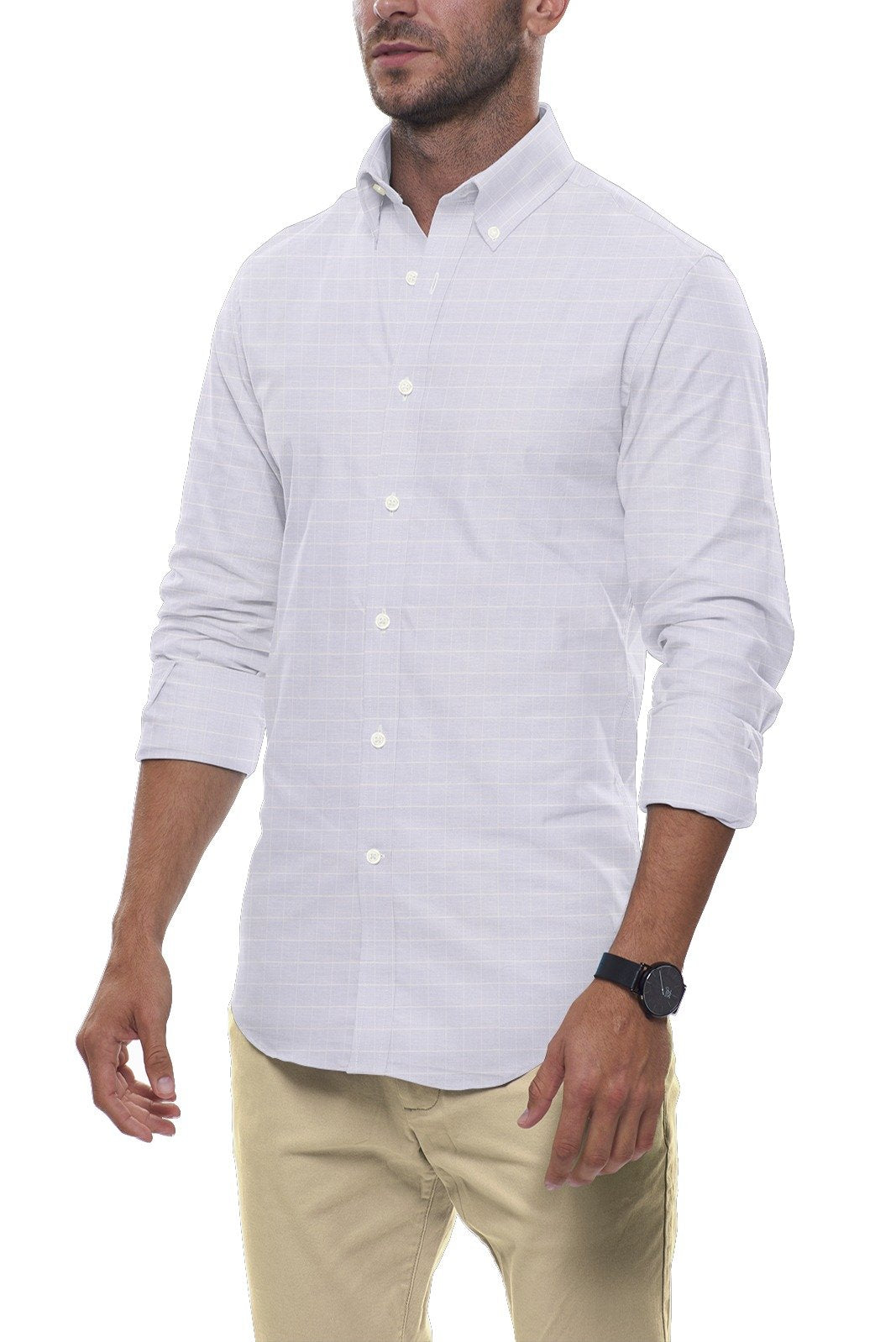 Powder Blue Grid Stripe Linen: Button-Down Collar, Long Sleeve