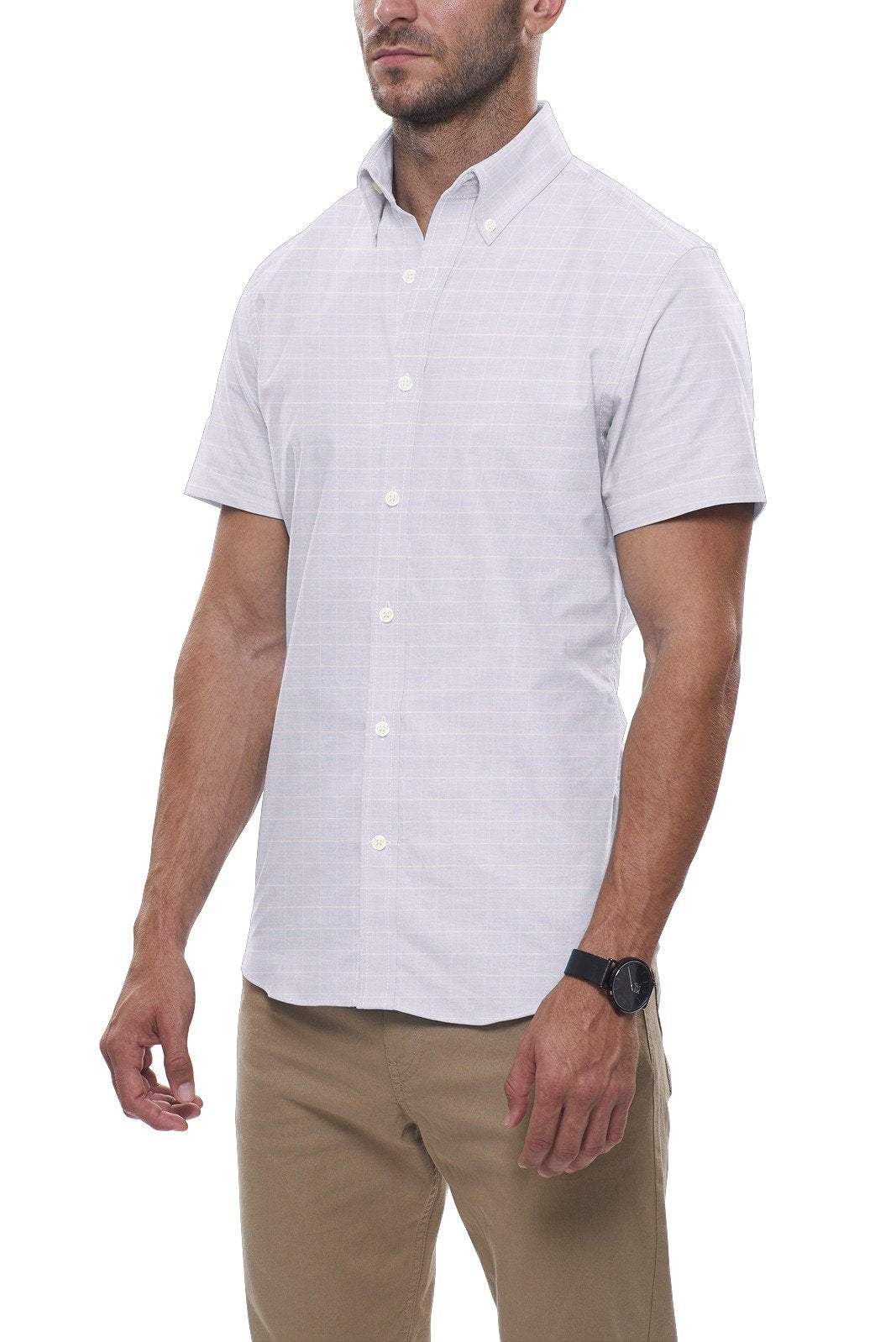 Powder Blue Grid Stripe Linen: Button-Down Collar, Short Sleeve