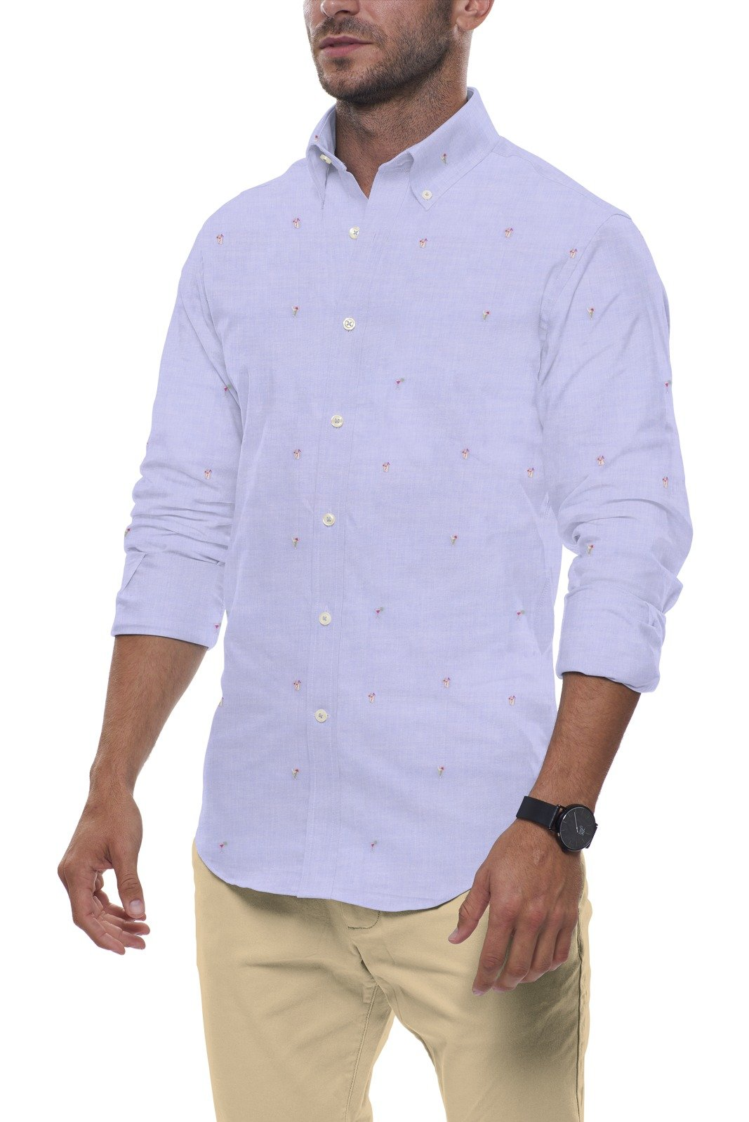 Beach Days Fil Coupe in Light Blue: Button-Down Collar, Long Sleeve