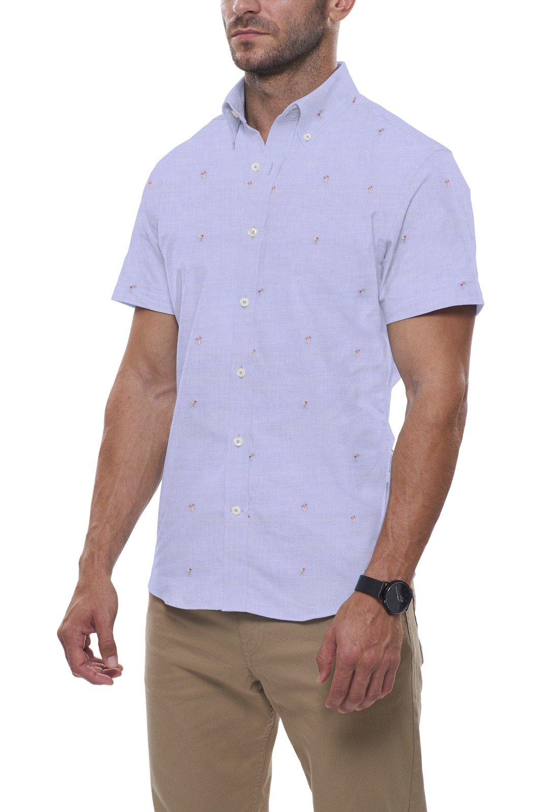 Beach Days Fil Coupe in Light Blue: Semi-Spread Collar, Short Sleeve