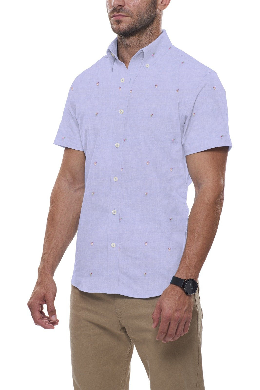 Beach Days Fil Coupe in Light Blue: Button-Down Collar, Short Sleeve
