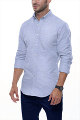 Cool Blue Horizontal Linen Stripe: Button-Down Collar, Long Sleeve