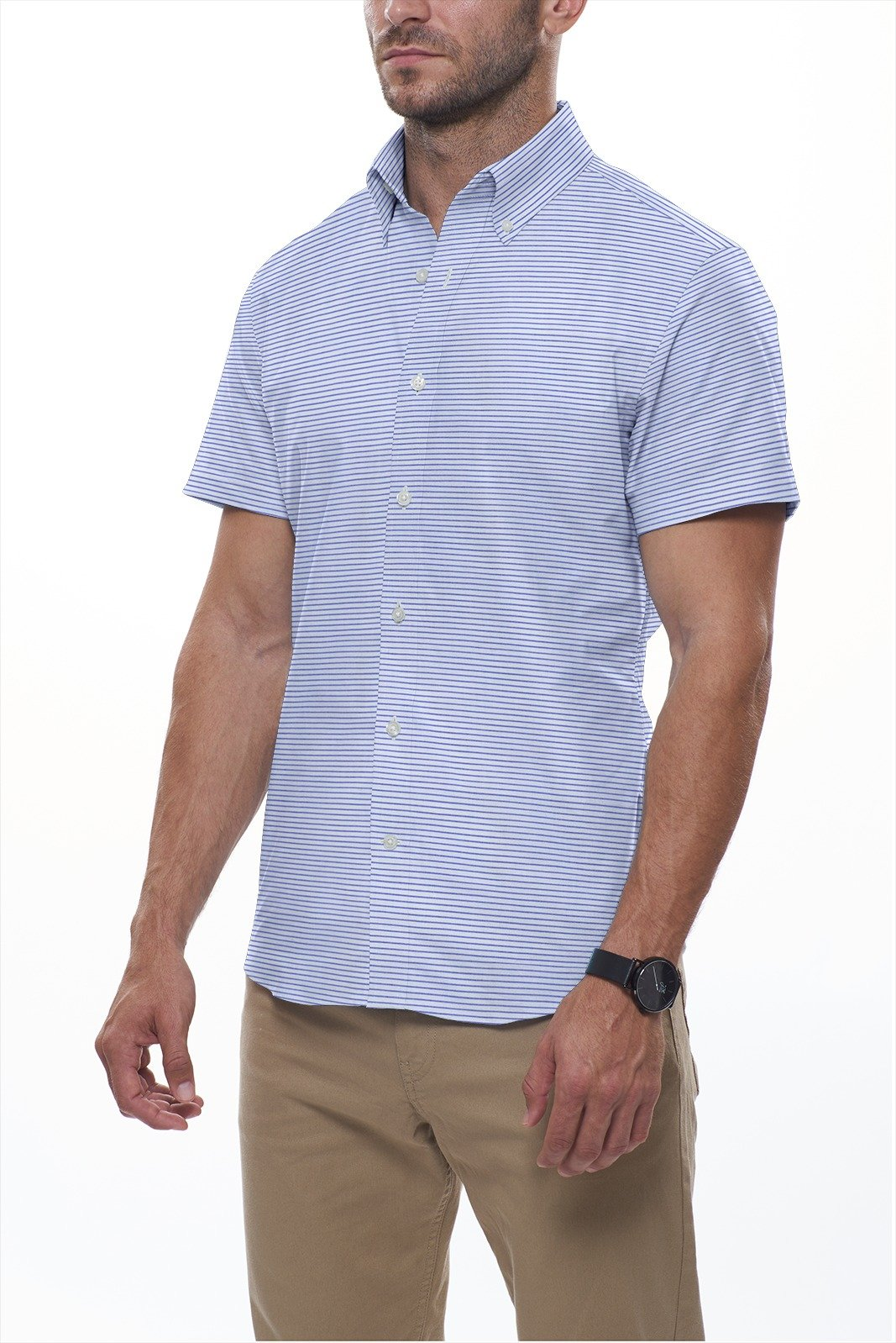 Cool Blue Horizontal Linen Stripe: Semi-Spread Collar, Short Sleeve