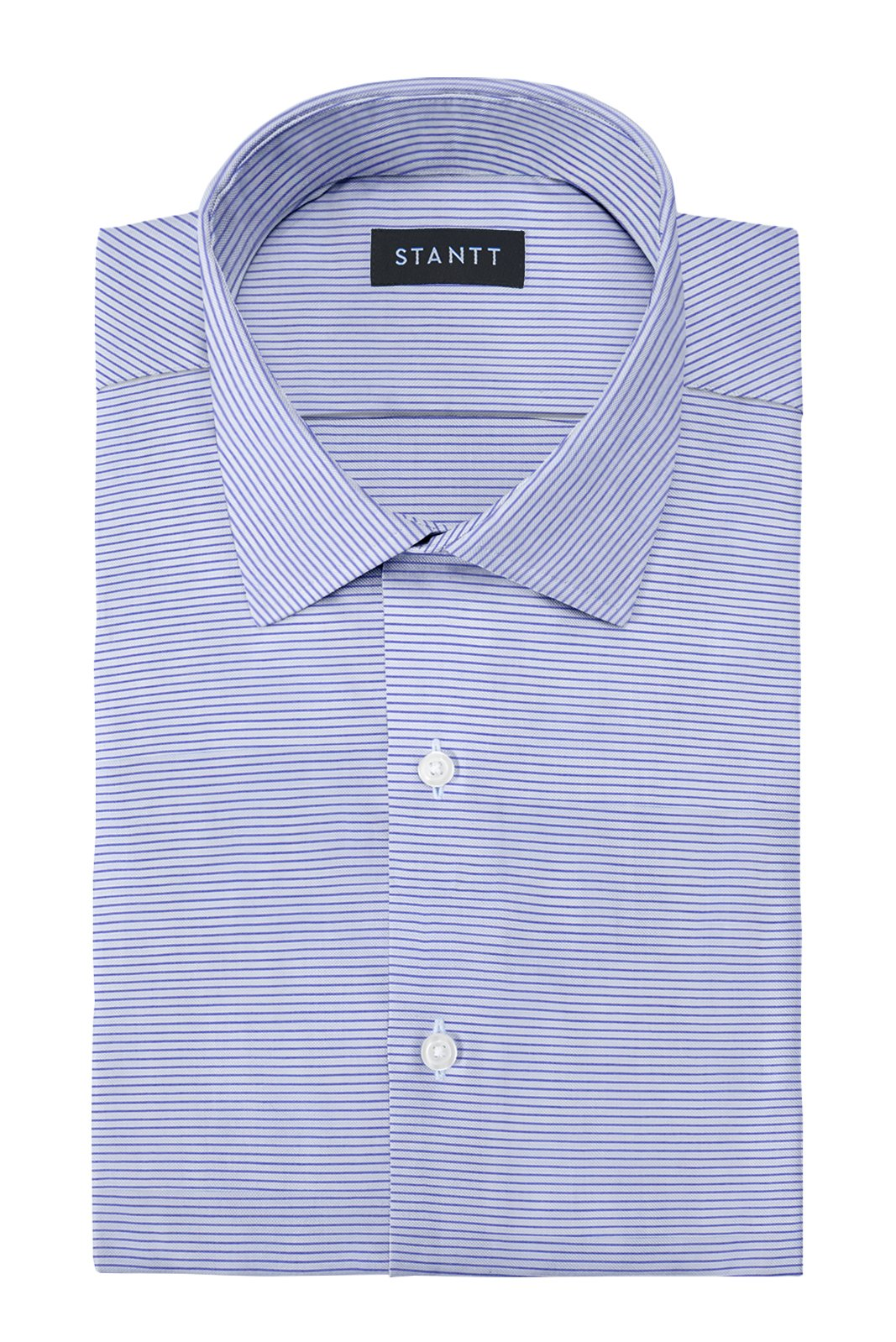 Cool Blue Horizontal Linen Stripe: Modified-Spread Collar, French Cuff