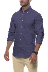 Indigo Summer Linen: Semi-Spread Collar, Long Sleeve