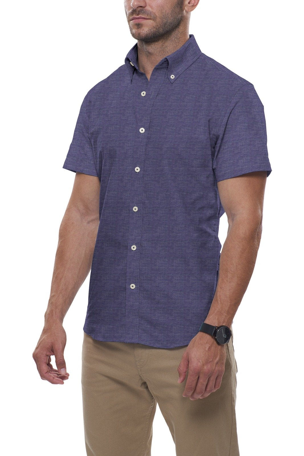 Indigo Summer Linen: Button-Down Collar, Short Sleeve
