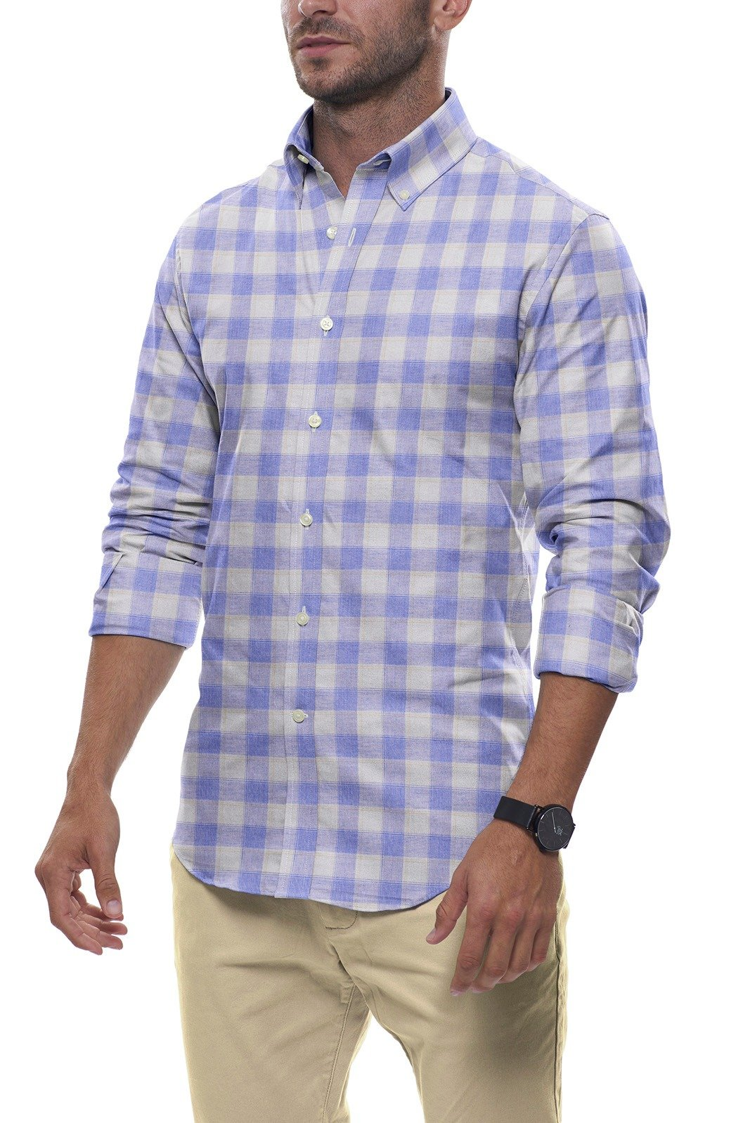 Light Blue and White Plaid Linen: Semi-Spread Collar, Long Sleeve