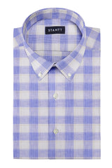 Light Blue and White Plaid Linen: Button-Down Collar, Short Sleeve