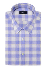 Light Blue and White Plaid Linen: Semi-Spread Collar, Short Sleeve