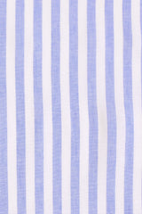 Cornflower Cotton Linen Stripe: Button-Down Collar, Short Sleeve