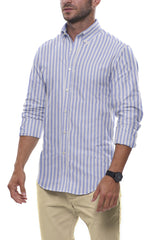 Cornflower Cotton Linen Stripe: Semi-Spread Collar, Long Sleeve