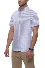 Cornflower Cotton Linen Stripe: Semi-Spread Collar, Short Sleeve