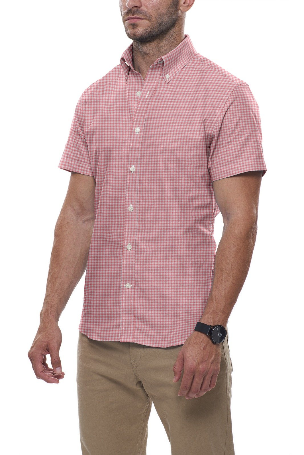 Watermelon Cotton Linen Gingham: Semi-Spread Collar, Short Sleeve