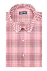 Watermelon Cotton Linen Gingham: Button-Down Collar, Long Sleeve