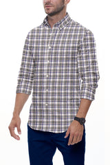 Earth Tones Multi Plaid Linen: Button-Down Collar, Long Sleeve