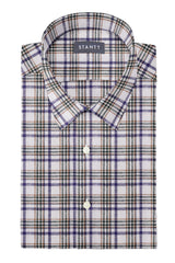 Earth Tones Multi Plaid Linen: Semi-Spread Collar, Short Sleeve