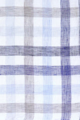 Blue and Beige Large Linen Check: Modified-Spread Collar, French Cuff