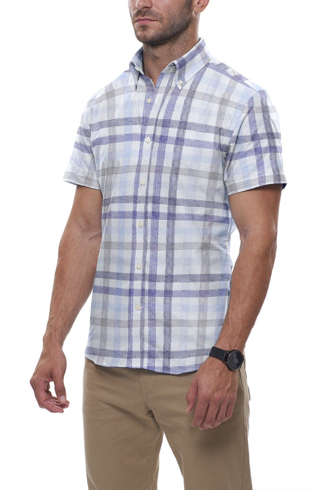 Blue and Beige Large Linen Check: Semi-Spread Collar, Short Sleeve