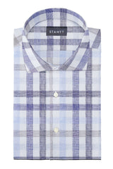 Blue and Beige Large Linen Check: Cutaway Collar, Barrel Cuff
