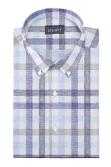 Blue and Beige Large Linen Check: Button-Down Collar, Long Sleeve