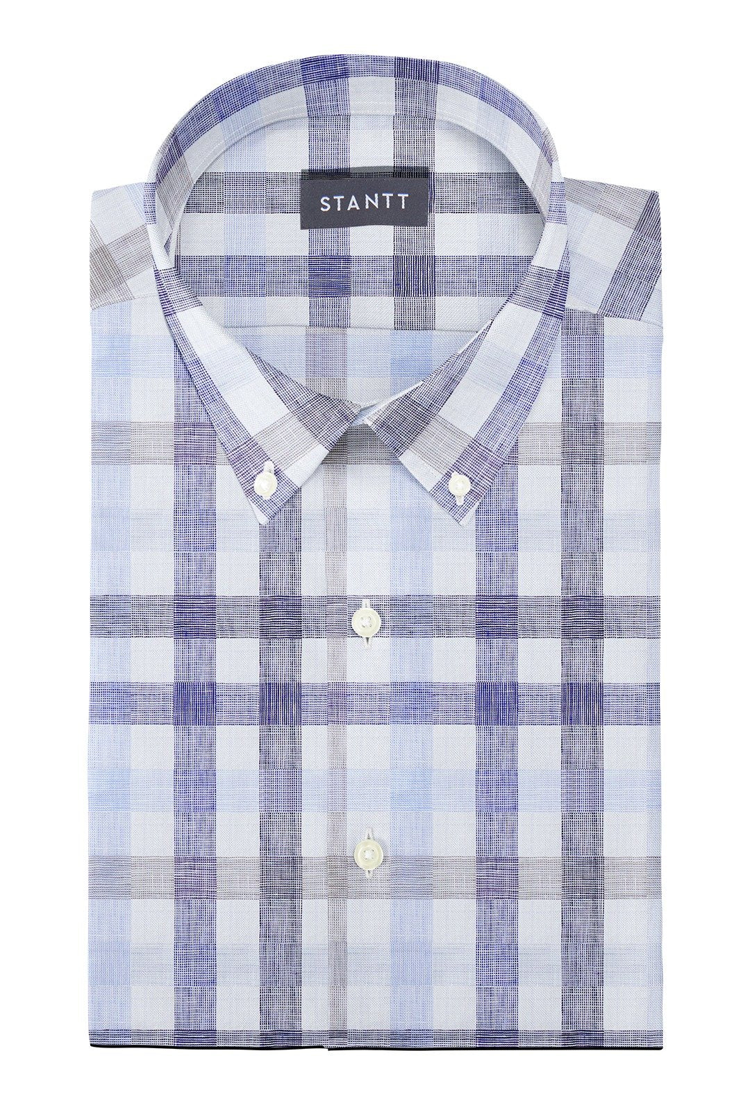 Blue and Beige Large Linen Check: Button-Down Collar, Barrel Cuff
