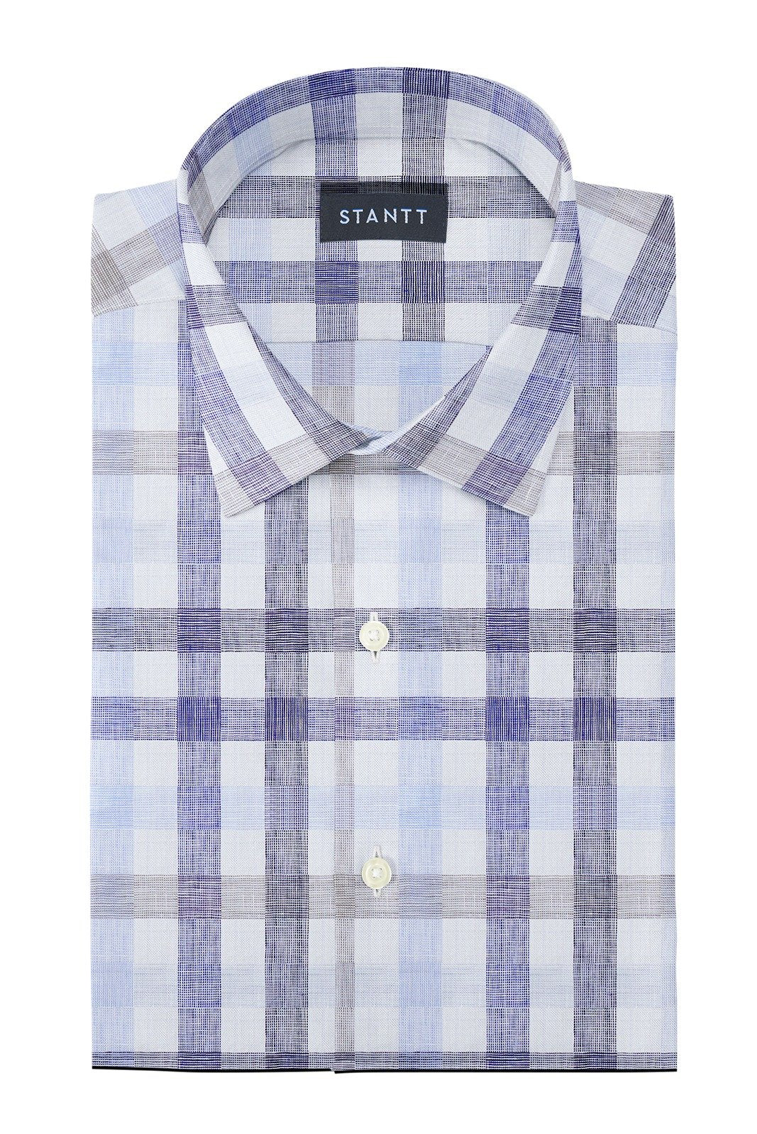 Blue and Beige Large Linen Check: Modified-Spread Collar, Barrel Cuff