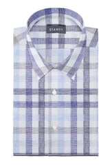 Blue and Beige Large Linen Check: Semi-Spread Collar, Barrel Cuff