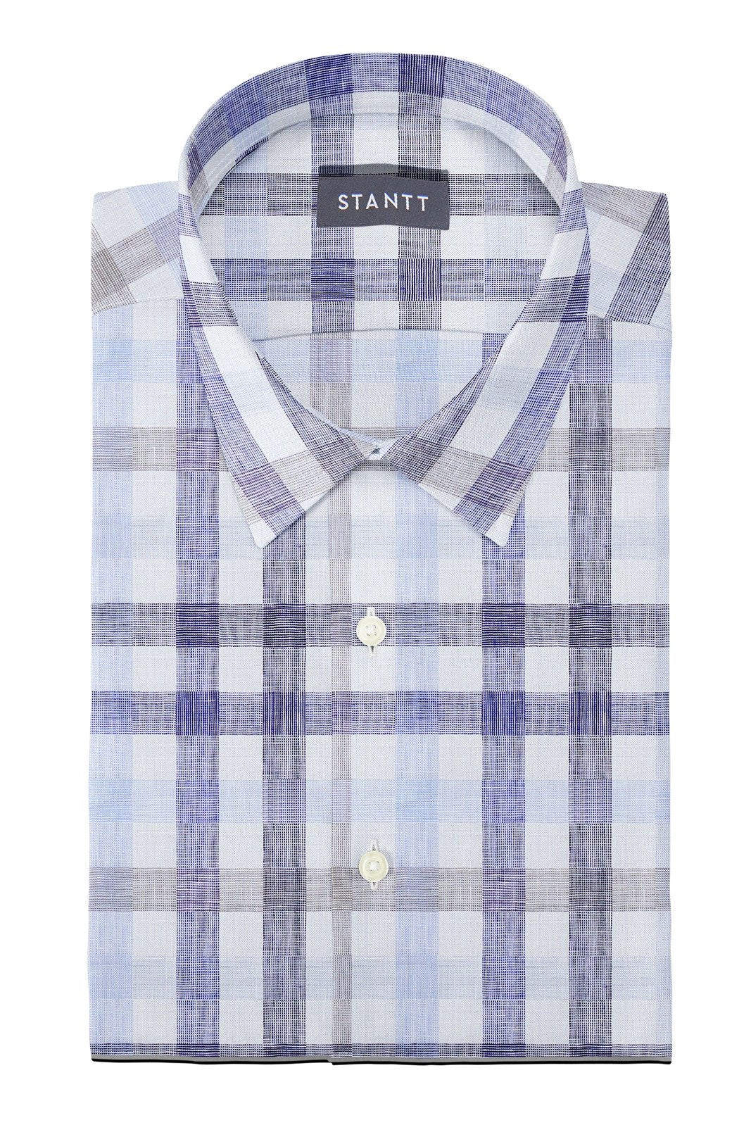 Blue and Beige Large Linen Check: Semi-Spread Collar, French Cuff