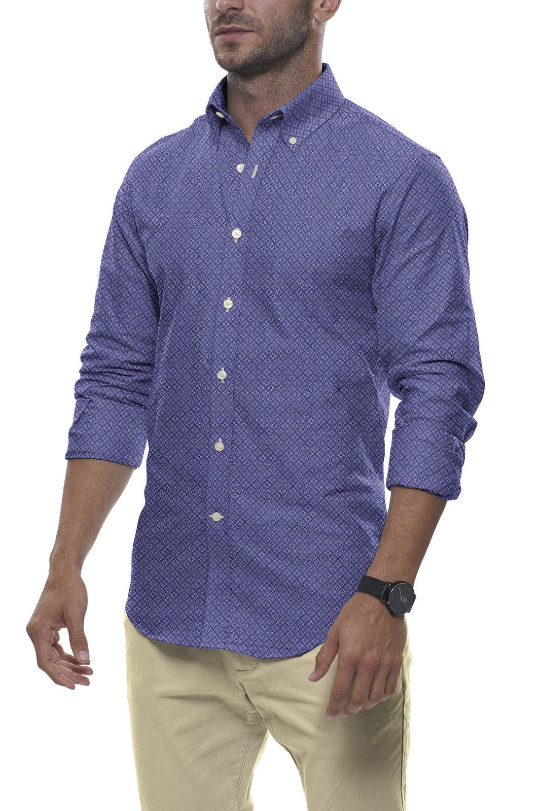 Steel Blue Diamond Burst Linen: Semi-Spread Collar, Long Sleeve