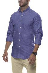 Steel Blue Diamond Burst Linen: Button-Down Collar, Long Sleeve