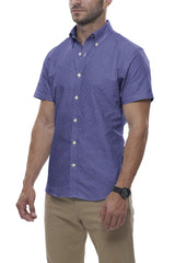 Steel Blue Diamond Burst Linen: Semi-Spread Collar, Short Sleeve