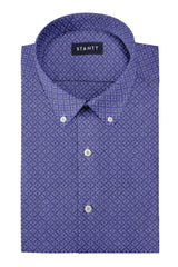 Steel Blue Diamond Burst Linen: Button-Down Collar, Short Sleeve