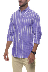 Soft Indigo Striped Cotton Linen: Semi-Spread Collar, Long Sleeve