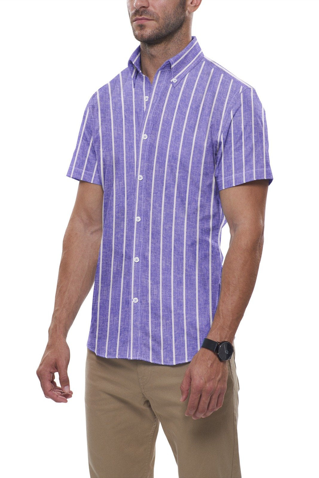 Soft Indigo Striped Cotton Linen: Semi-Spread Collar, Short Sleeve